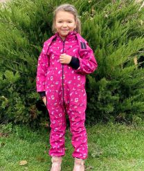 Kid's Waterproof Softshell Overall (pink fireworks)